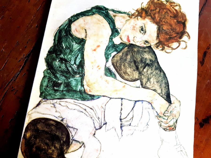 Egon Schiele, Donna seduta con gamba sinistra piegata, 1917